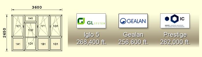 2650X3600 cm-es műanyag erkélyajtó árak