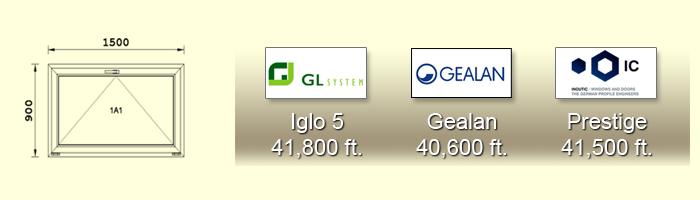 900X1500 cm-es műanyag ablak árak