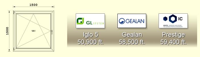1500X1500 cm-es műanyag ablak árak